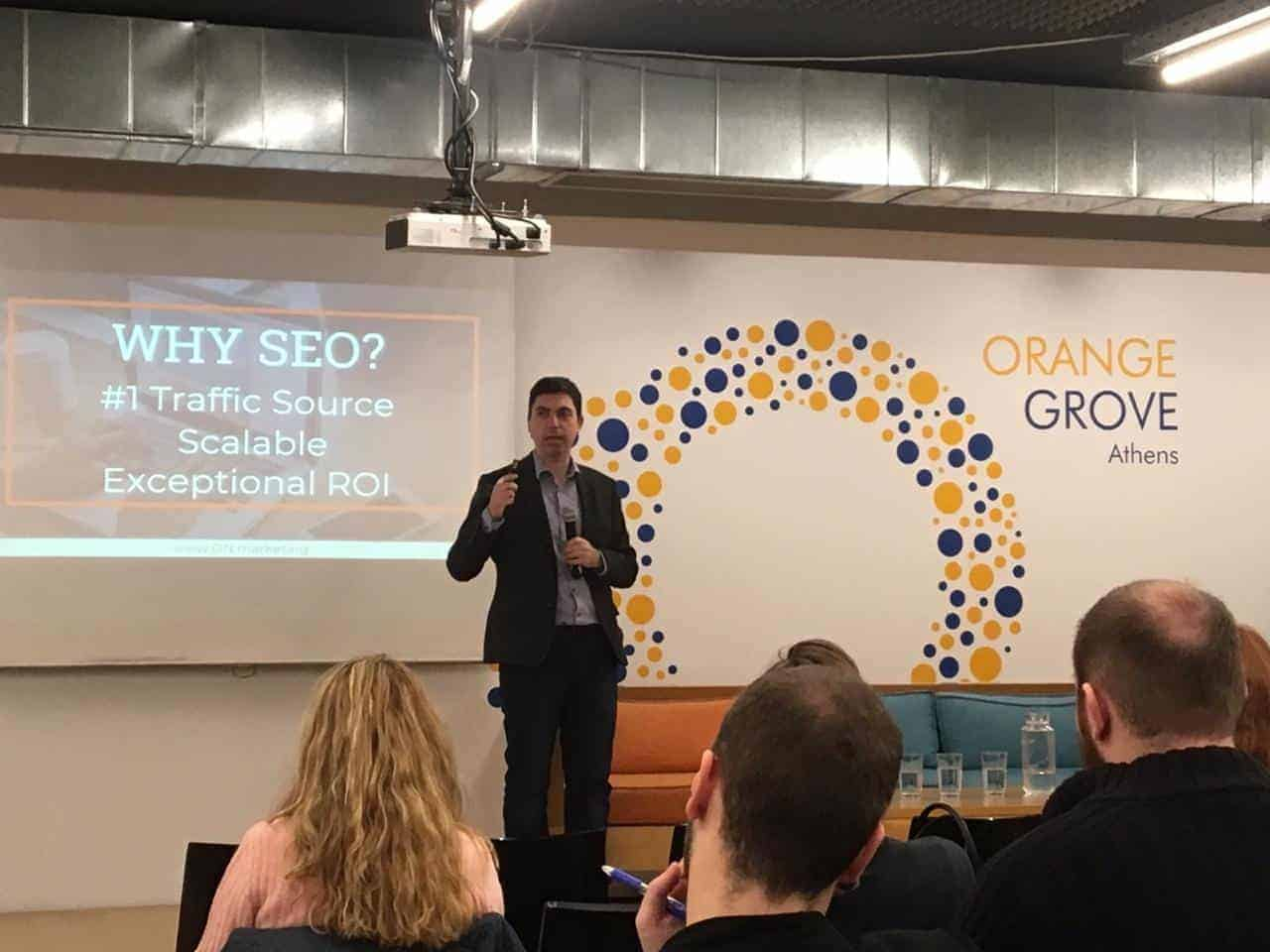 Panos Ladas at Content Marketing Meetup 2018 talking about Voice & eCommerce SEO
