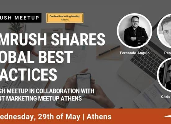 Photos of speakers in the content marketing athens meetup